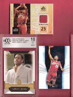 LEBRON JAMES NAXCOM ROOKIE CARD BCCG MINT+ 10 + GAME USED JERSEY + UPPER DECK RC