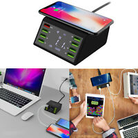 8-Ports USB Hub Wireless Fast Charging Station LCD QC3.0 Power Adapter Charger