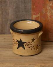 Primitive Star Crock with Star Cut-Out Stars and Red Berry Vine Candle Holder