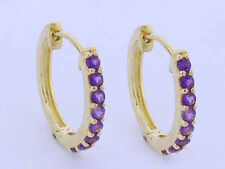 E027-> Genuine 9ct YELLOW Gold NATURAL Amethyst Hoop HUGGIE Earrings