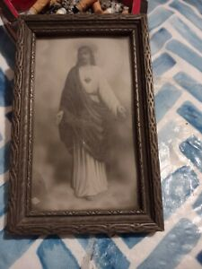 Beautiful 4x6 black and white Vintage Framed Print Picture Of Sacred Heart Jesus