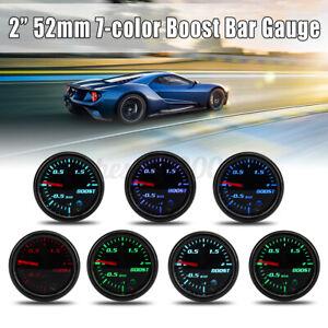 Universal 2'' 52mm Car Turbo Boost Gauge Pointer LED BAR Pressure Meter 7 Color