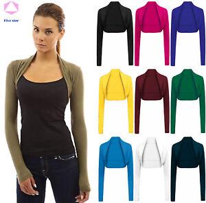 New Womens Long Sleeve Plain Shrug Cropped Bolero Ladies Cardigan Plus Size Top