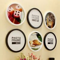 Round Photo Frame Wooden Wall Hanging Picture Holder Bedroom Home Decor Modern
