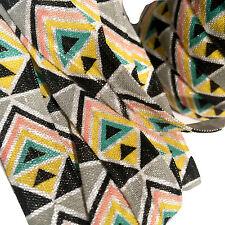 "5 yards black, yellow, pink & gray tribal Aztec print 5/8"" fold over elastic FOE"