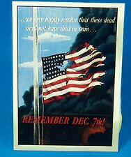 """PEARL HARBOR REMEMBER December 7 !! Vintage 1942 World War II POSTER 12"""" x 18"""""""