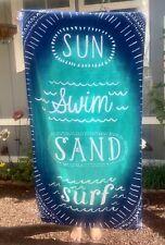 "Mainstays Blue Turquoise SUN SWIM SAND SURF Beach Towel Velour NEW 34"" X 64"""