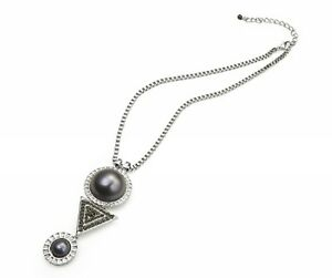 New Faux Pearl Crystal Stone Pendant Necklace in Gold or Silver Art Deco Style