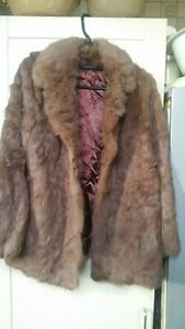 Womens Real French Coney Fur Jacket Vintage 1980's size 16 Good Condition
