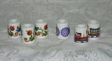Vintage Miniature Ceramic Thimble Candle Stick Holders-6 Pcs-Flowers/Trains-Nice
