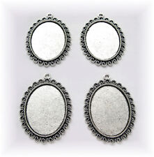 4 Ant. Silvertone OPHELIA style 40mm x 30mm CAMEO Costume PENDANT Frame Settings