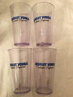 SET OF 4) ABSOLUT VODKA  PLASTIC 16 OZ GLASSES--LOGO--BARWARE--GC