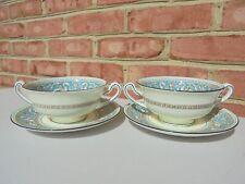 2 Wedgwood Florentine Turquoise Cream Soup Bowl w Underplate Sets (4 Pcs)