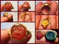 Beautiful Superb Roman 1st 2nd Cent AD Gold Pegasus Intaglio Ring Carnelian