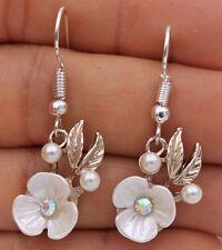 925 Silver Plated Hook - 1.5'' Leaf Pearl Flower Rainbow Crystal Earrings #17