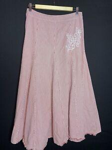 Per Una Ladies Cotton Canvas Red & Cream Striped Long Skirt Size 12 (A2)