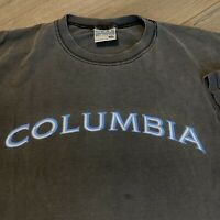 Columbia T Shirt Mens XL Adult Black Vintage 90s Faded Outdoors Spell Out Logo
