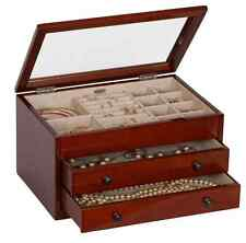 Walnut Jewelry Box Storage Display Chest Case, Ring Necklace Organizer, Wood New