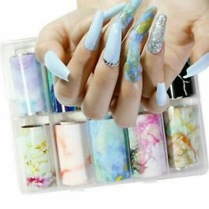 Various Marble Foil Transfer Designs Nail Art