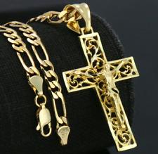 """Collar Para Hombres Oro Chapado 14k Cadena Figaro Cruz De JESÚS Hip Hop 5mm 18"""""""