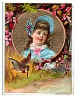 Sweet Girl with Down Syndrome Embossed Victorian Trade Card
