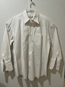 Assante Men's White Long Sleeve French Cuff Dress Shirt Size 19 4/5 USED 12