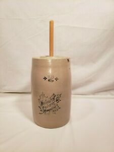 Vintage Monmouth Pottery Co. 2 Gallon Butter Churn w/ Lid & Masher, Leaf Pattern