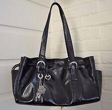 Brighton Black Patent Leather Drawstring Tote Purse Satchel Heart Charm D671476
