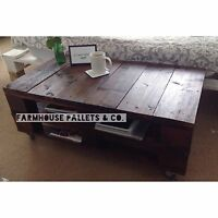 Pallet Coffee Table Dark Stained Reclaimed Wood Upcycled Rustic - LEMMIK