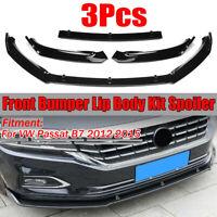 3PCS Lucido Bordo Paraurti Anteriore Corpo Kit Spoiler Splitter Per VW Passat B7