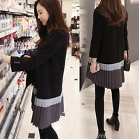 Korean Women Patchwork Pleated Loose Casual A-Line Shirt Tunic Dress Pullover 2X