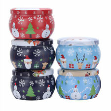 5 Christmas Theme Printed Metal Tin Jars Storage Case Containers Boxes+Lids 4 oz