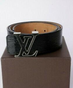 Louis Vuitton Ceinture LV Initials Black Epi Leather Belt Size 85/34 Bag & Boxed