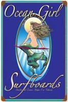 Ocean Girl Surfboards Surfing Mermaid Bar Pub Metal Sign Decor BERG009