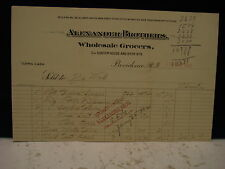 Bill for  items bought at Alexander Bros. Wholesale Grocers ,Providence, R.I.