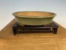 Green Glazed Shohin Size Tokoname Bonsai Tree Pot By Hattori 6 3/8�