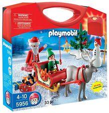 Playmobil Carrying case Christmas #5956 & #5987 Santa's Workshop Both New