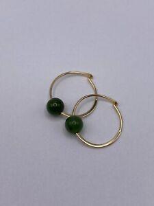 Solid 14k Gold Hoop Earrings with Jade Beads