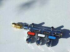 LPG Gas Manifold 3 tap Straight inlet, BBQ, Caravan Motor home, Camper, Boat.