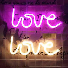 Battery Powered Usb Led Love Sign Neon Lights Wall Home Shop Decor Party Lamp Us