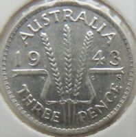 1943 S AUSTRALIA, silver Threepence,  Ex a better grade collection grading EF.