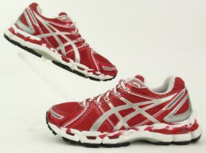 Women's Asics Gel Kayano 19 Red White Silver Running Shoes Size 6.5 RARE COLOR!