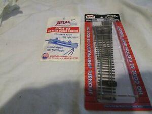 1  ATLAS CODE 83 #4 LEFT CUSTOM LINE TURNOUT #561 & 1 NCODE 83 # 58N LEFT SWITCH