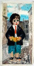 "Santini Poncini ""Jeune Musicien"" Oil on Canvas 31""x 15.5"" signed: Poncini Paris"