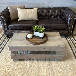Farmhouse Coffee Table Solid Wood Rustic Rectangular Living Room Furniture Gray
