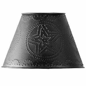 "Punched Metal Farmhouse Primitive Rustic Metal Lamp Shade 10"" Black Barn Star"
