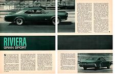 1966 BUICK RIVIERA GRAN SPORT 425/360 HP ~ ORIG 5-PAGE ROAD TEST / ARTICLE / AD