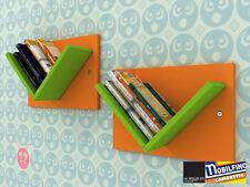 Set 2Pz Libreria modulare Mensole Design cameretta ARANCIO VERDE made in italy