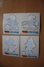 Hard to Find National Benzole Petrol Set of 4 Smurf Car Stickers  UK Issue Only