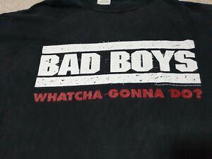"""Rare  90s Vintage 1995 """"Badboys"""" the movie promo Tshirt Crazy Faded condition XL"""